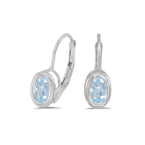 Bezel-Set Oval Aquamarine Lever-Back Earrings 14k White Gold (0.80ct)