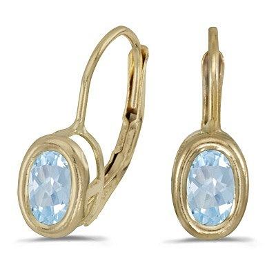 Bezel-Set Oval Aquamarine Lever-Back Earrings 14k Yellow Gold