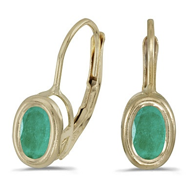 Bezel-Set Oval Emerald Lever-Back Earrings 14k Yellow Gold