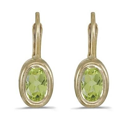 Bezel-Set Oval Peridot Lever-Back Earrings 14k Yellow Gold