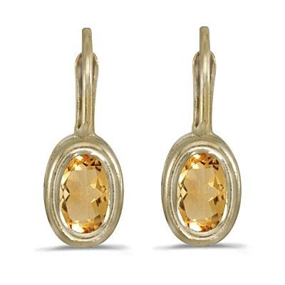 Bezel-Set Oval Citrine Lever-Back Earrings 14k Yellow Gold