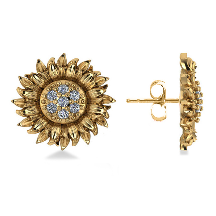 Diamond Sunflower Shaped Earrings 14k Yellow Gold (0.14ct)