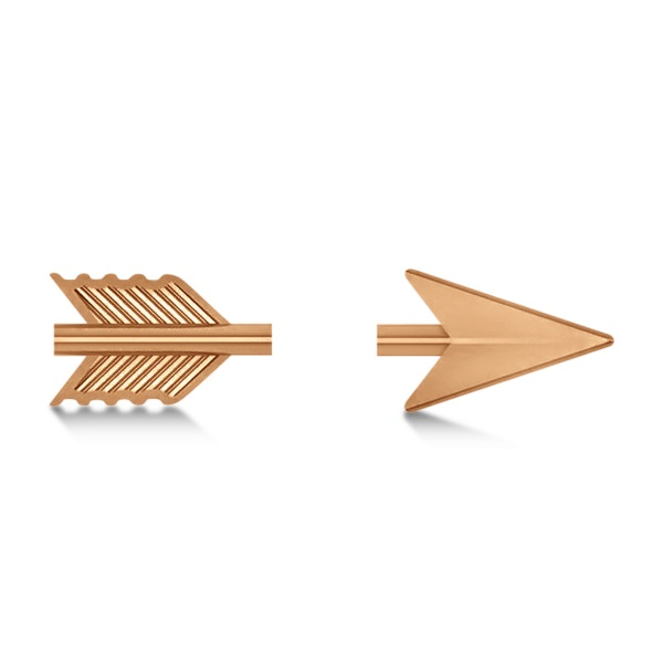 Women's Shooting Arrow Stud Earrings 14K Rose Gold