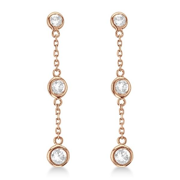 Diamond Drop Earrings Bezel-Set Dangles 14k Rose Gold (0.33ct)