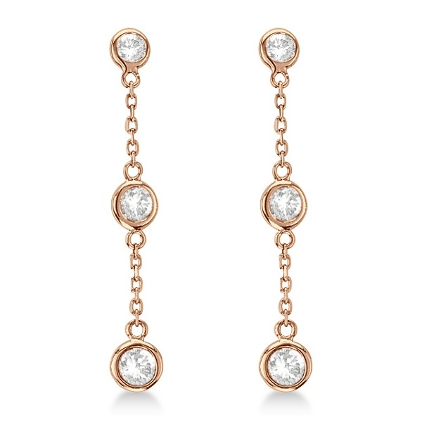 Diamond Drop Earrings Bezel-Set Dangles 14k Rose Gold (1.00ct)