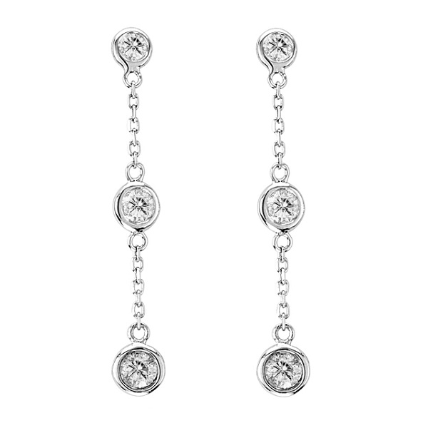 Diamonds by The Yard Bezel-Set Drop Earrings 14k White Gold (0.33ct)