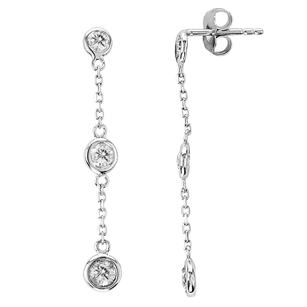 Diamond Drop Earrings Bezel-Set Dangles 14k White Gold (1.00ct)