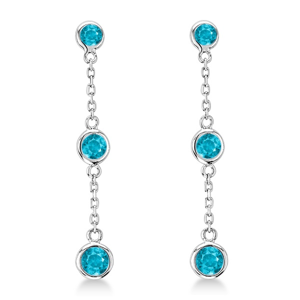 Blue Diamonds by The Yard Bezel Drop Earrings 14k White Gold (0.50ct)