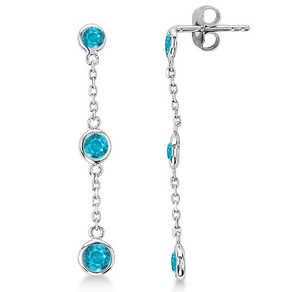 Blue Diamonds by The Yard Bezel Drop Earrings 14k White Gold (1.00ct)