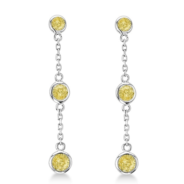 Fancy Yellow Diamond Station Drop Earrings 14k White Gold (0.33ct)