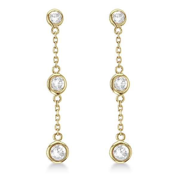 Diamond Drop Earrings Bezel-Set Dangles 14k Yellow Gold (0.25ct)