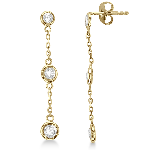 Diamond Drop Earrings Bezel-Set Dangles 14k Yellow Gold (0.33ct)