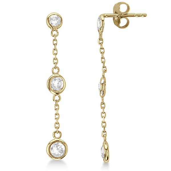 Diamond Drop Earrings Bezel-Set Dangles 14k Yellow Gold (0.50ct)
