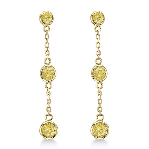 Fancy Yellow Diamond Station Drop Earrings 14k Yellow Gold (0.25ct)