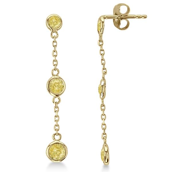 Fancy Yellow Diamond Station Drop Earrings 14k Yellow Gold (0.33ct)