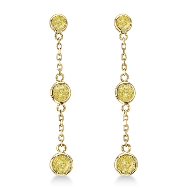 Fancy Yellow Diamond Station Drop Earrings 14k Yellow Gold (1.00ct)