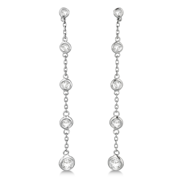 Bezel-Set Diamond Station Drop Earrings Dangling 14k White Gold (1.00ct)
