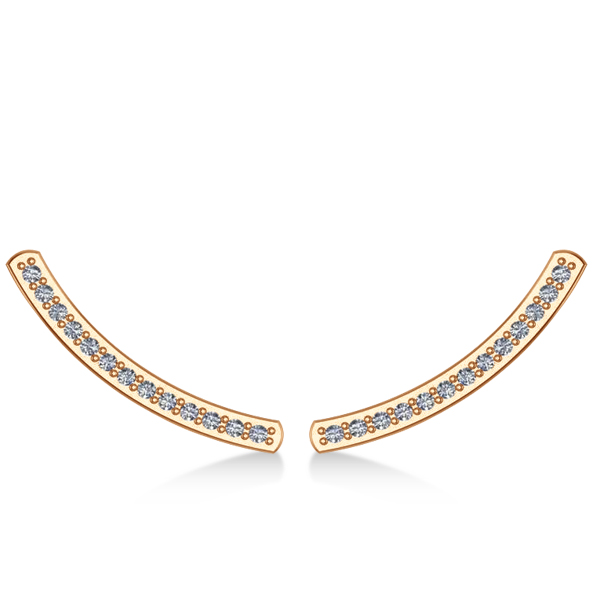 Curved Ear Cuffs Diamond Accented 14K Rose Gold (0.13ct)