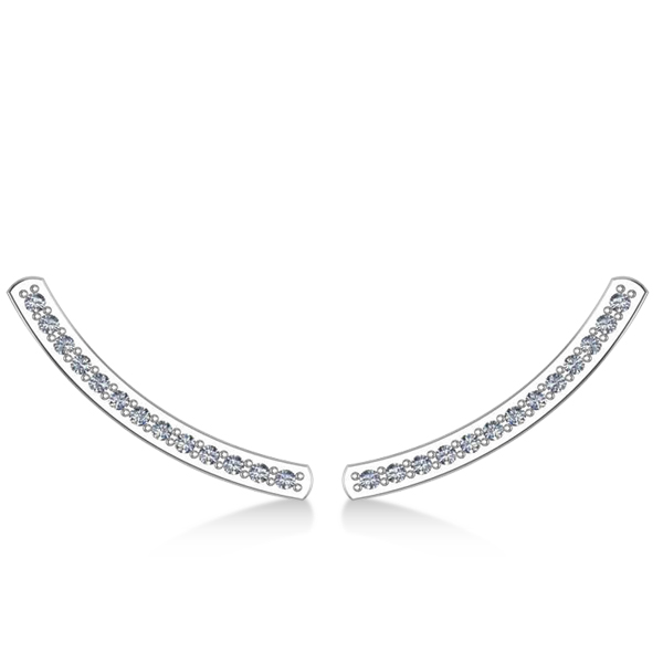 Curved Ear Cuffs Diamond Accented 14K White Gold (0.13ct)