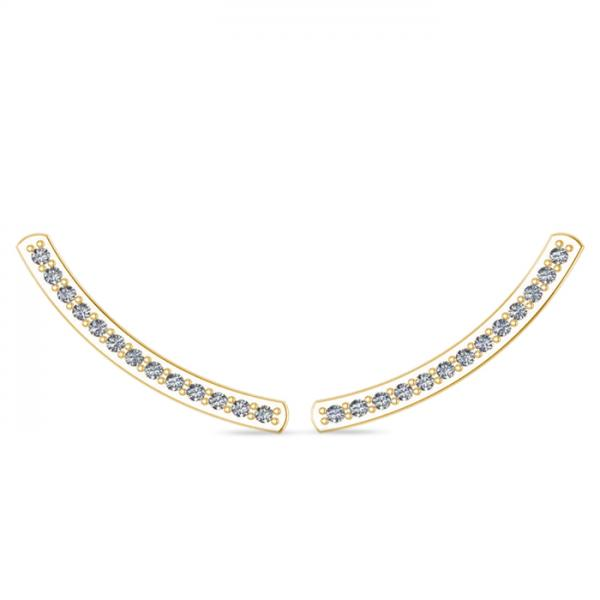 Curved Ear Cuffs Diamond Accented 14K Yellow Gold (0.13ct)