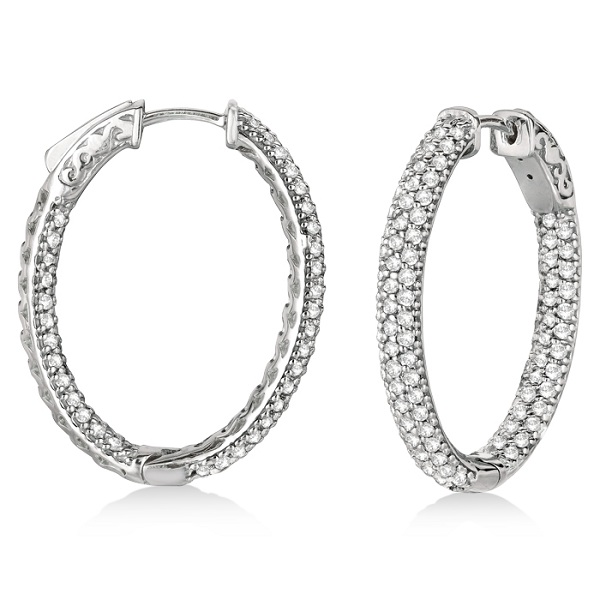 Pave-Set Inside-Outside Diamond Hoop Earrings 14k White Gold (2.75ct)