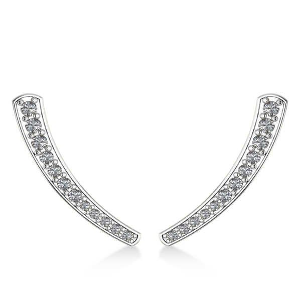 Curved Ear Cuffs with Graduating Diamonds 14K White Gold (0.22ct)