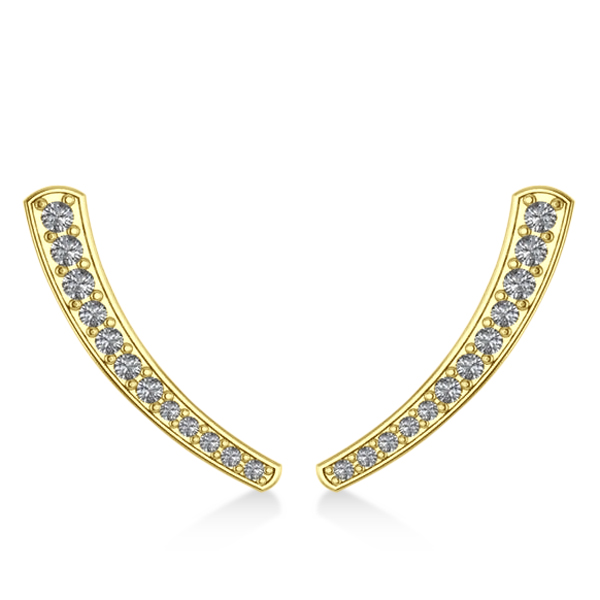 Curved Ear Cuffs with Graduating Diamonds 14K Yellow Gold (0.22ct)