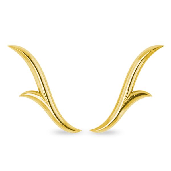 Flower Ear Cuffs Plain Metal 14k Yellow Gold