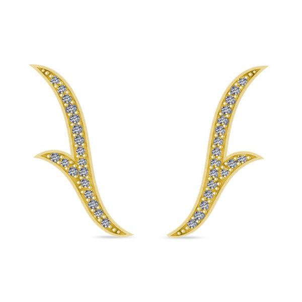 Flower Ear Cuffs Diamond Accented 14k Yellow Gold (0.25ct)
