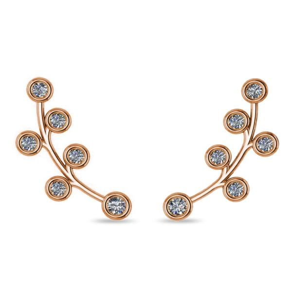 Circular Flower Ear Cuffs Diamond Accented 14k Yellow Gold (0.26ct)