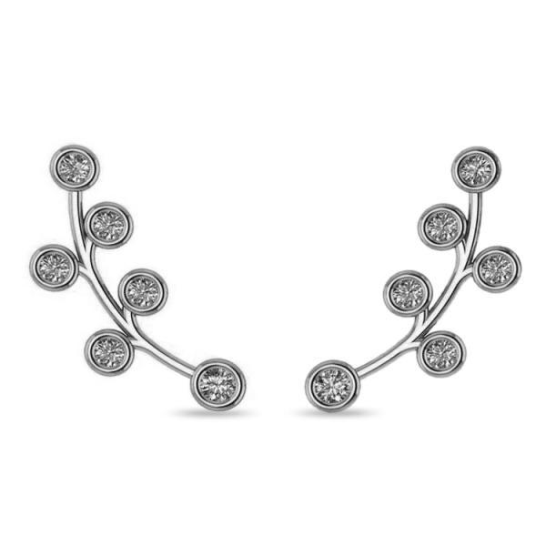 Circular Flower Ear Cuffs Diamond Accented 14k White Gold (0.26ct)