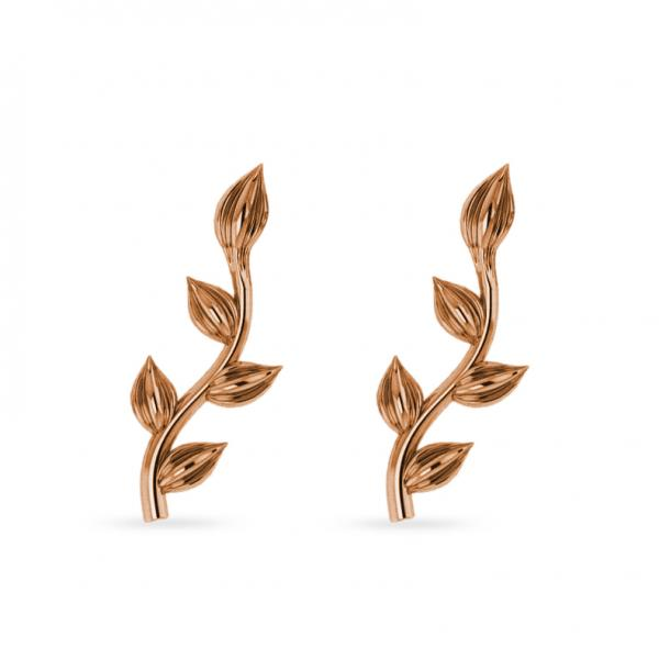 Flower Vines Ear Cuffs Plain Metal 14k Rose Gold