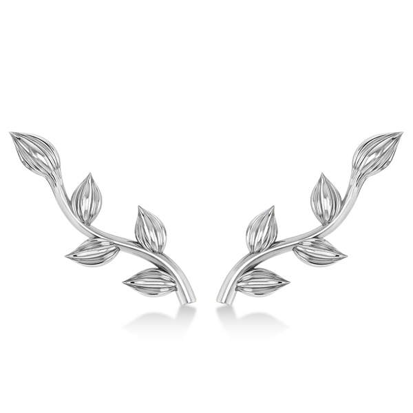 Flower Vines Ear Cuffs Plain Metal 14k White Gold