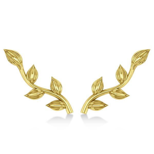 Flower Vines Ear Cuffs Plain Metal 14k Yellow Gold