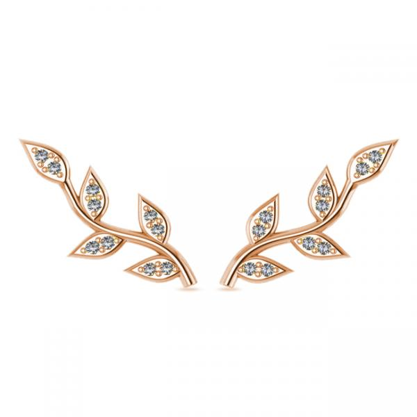 Vine Leaf Ear Cuffs Diamond Accented 14k Rose Gold (0.20ct)