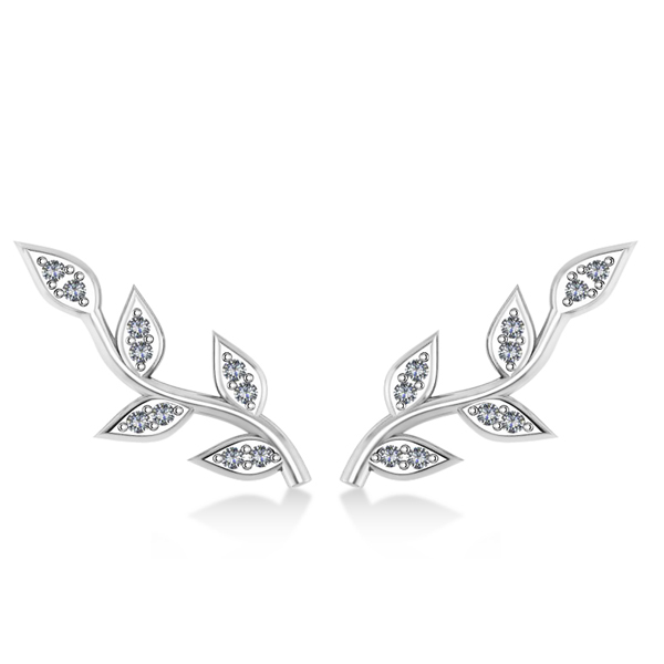 Vine Leaf Ear Cuffs Diamond Accented 14k White Gold (0.20ct)