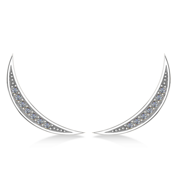 Crescent Moon Ear Cuffs Diamond Accented 14K White Gold (0.14ct)