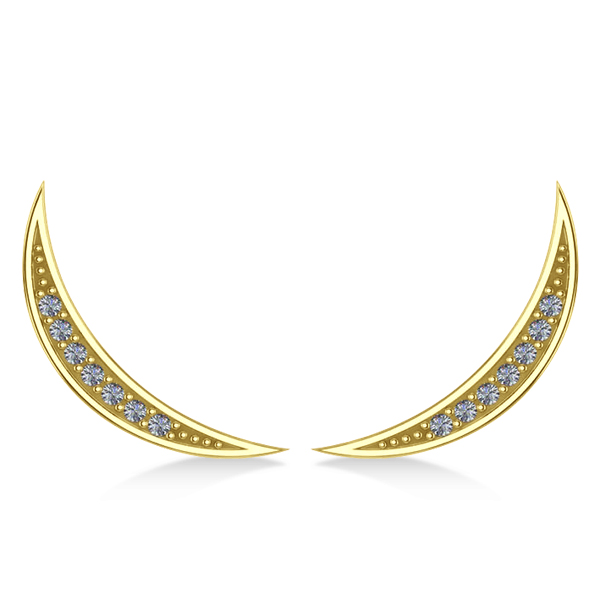 Crescent Moon Ear Cuffs Diamond Accented 14K Yellow Gold (0.14ct)
