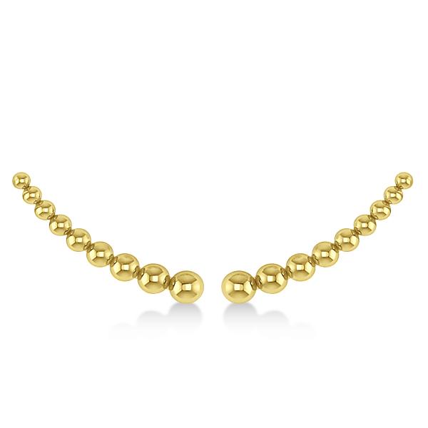Graduating Beads Ear Cuffs Plain Metal 14k Yellow Gold