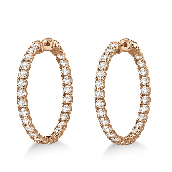 Fancy Medium Round Diamond Hoop Earrings 14k Rose Gold (5.25ct)