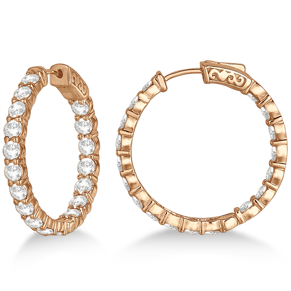 Prong-Set Medium Diamond Hoop Earrings 14k Rose Gold (5.54ct)