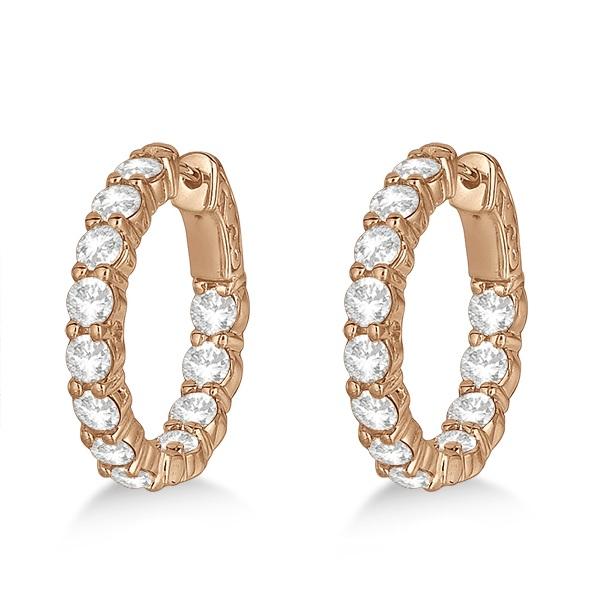 Prong-Set Small Diamond Hoop Earrings 14k Rose Gold (3.70ct)
