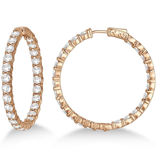 Fancy Prong-Set Large Diamond Hoop Earrings 14k Rose Gold (10.00ct)