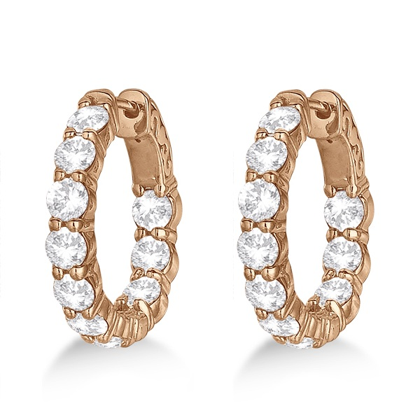 Small Round Diamond Hoop Earrings 14k Rose Gold (4.00ct)
