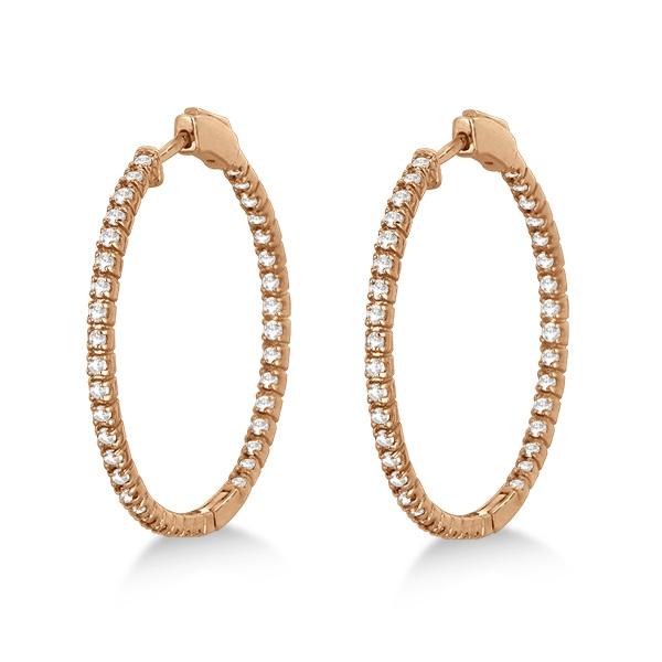 Stylish Large Round Diamond Hoop Earrings 14k Rose Gold (2.00ct)