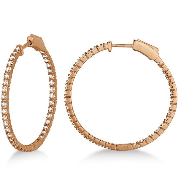 Medium Thin Round Diamond Hoop Earrings 14k Rose Gold (1.50ct)