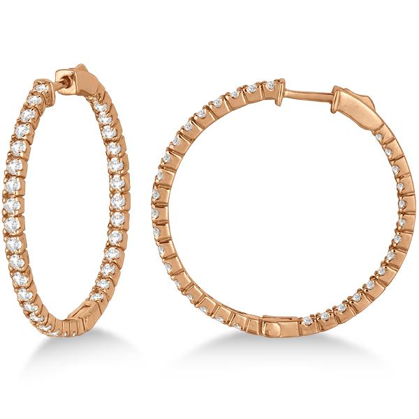Large Round Diamond Hoop Earrings 14k Rose Gold (2.05ct)