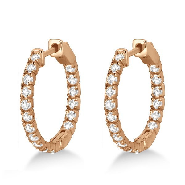 Fancy Small Round Diamond Hoop Earrings 14k Rose Gold (1.00ct)