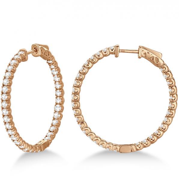 Large Round Diamond Hoop Earrings 14k Rose Gold (3.25ct)