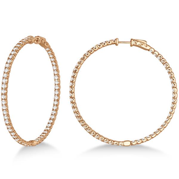 Stylish Large Round Diamond Hoop Earrings 14k Rose Gold (7.75ct)